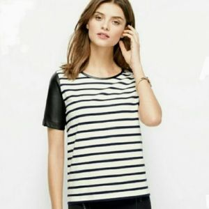 Ann Taylor B&W Stripped Leather Faux short sleeves
